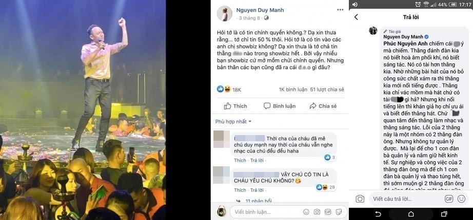 Nam ca sĩ Duy Mạnh với những bài đăng, bình luận gây sốc mang tư tưởng sai lệch, lời lẽ tục tĩu (Ảnh: Internet).